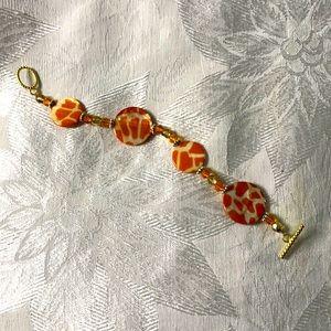 Orange and Cream giraffe bracelet
